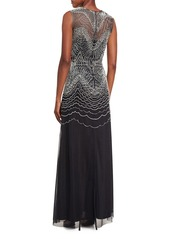 David Meister Sleeveless Metallic Geometric-Embroidered Gown