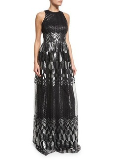 David Meister Sleeveless Metallic Printed Flowy Gown
