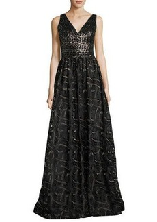 David Meister Sleeveless Mixed-Media Ball Gown