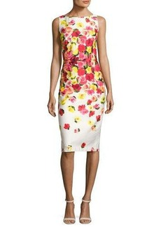 David Meister Sleeveless Ombre Floral Sheath Dress