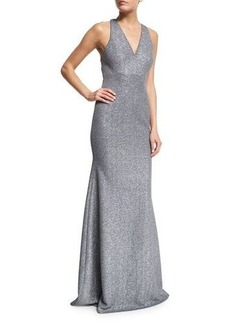 David Meister Sleeveless Open-Back Gown