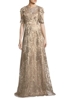 David Meister Sleeveless Ruffled Metallic Lace Gown