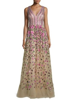 David Meister Sleeveless Sequined & Embroidered Ball Gown