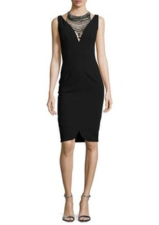 David Meister Sleeveless Stretch Crepe Cocktail Dress