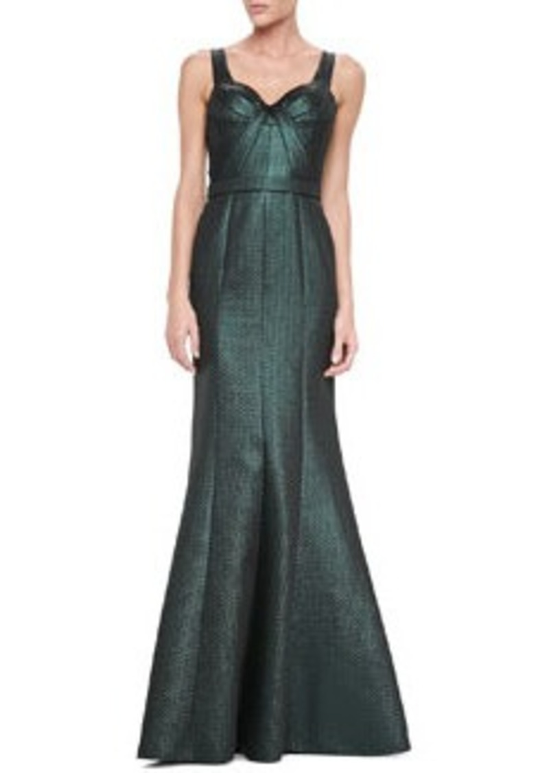 David Meister Sleeveless Sweetheart Metallic Gown