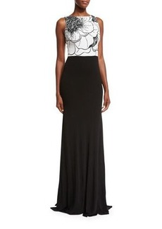 David Meister Sleeveless Two-Tone Floral Jersey Gown