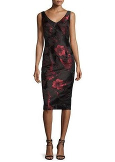 David Meister Sleeveless V-Neck Floral Sheath Dress