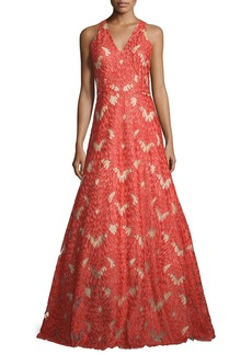 David Meister Sleeveless V-Neck Lace Gown
