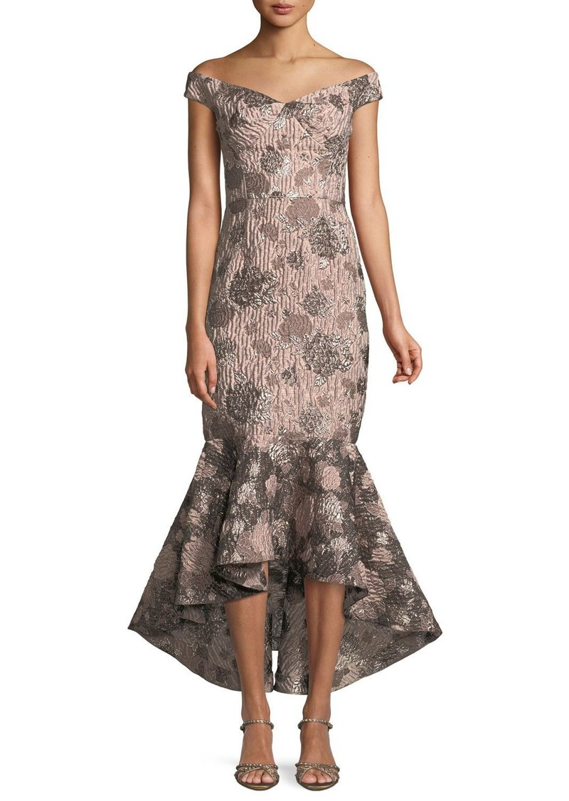 David Meister Soft Metallic Jacquard Mermaid Gown
