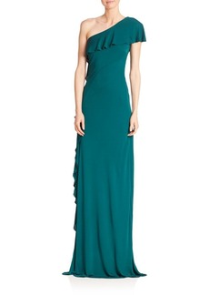 David Meister Solid Asymmetric One Shoulder Gown