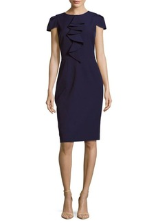 David Meister Solid Cap-Sleeve Dress