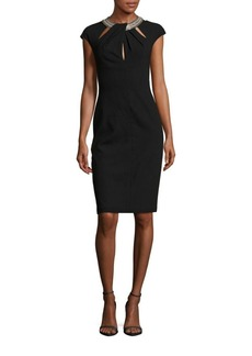 David Meister Solid Cocktail Dress