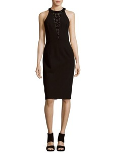 David Meister Solid Halter Sleeve Sheath Dress