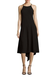 David Meister Solid Halterneck Shift Dress