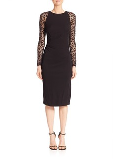 David Meister Solid Knee-Length Dress with Sheer Sleeves