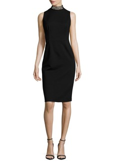 David Meister Solid Ponte Embellished Mockneck Dress