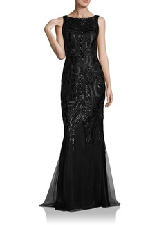 David Meister Solid Sequin Gown