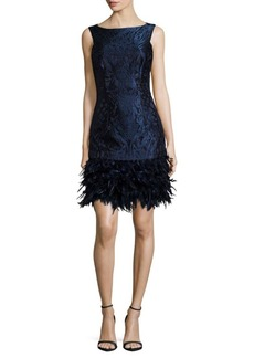 David Meister Solid Sleeveless Feather-Trim Dress