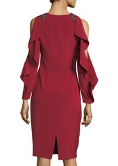 David Meister Split Ruffle Long-Sleeve Embellished Cocktail Dress