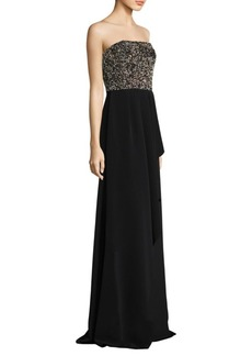 David Meister Strapless Beaded Floor-Length Gown