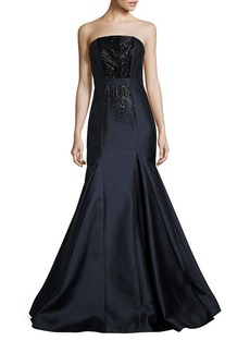 David Meister Strapless Beaded Mermaid Gown