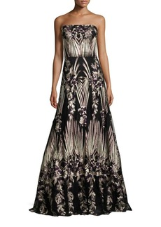 David Meister Strapless Embroidered Ball Gown