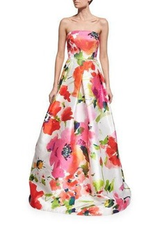 David Meister Strapless Floral Satin Ball Gown