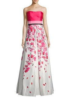 David Meister Strapless Solid & Floral Satin Gown
