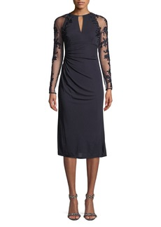 David Meister Stretch Jersey Beaded-Sleeve Cocktail Dress