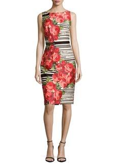 David Meister Striped Floral Sheath Dress