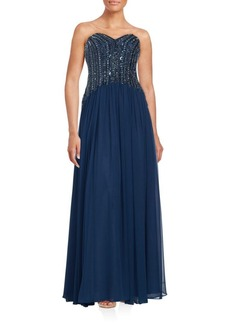 David Meister Sweetheart Neckline Sequined Gown