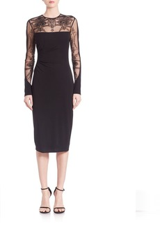 David Meister Tattoo Sleeve Cocktail Dress