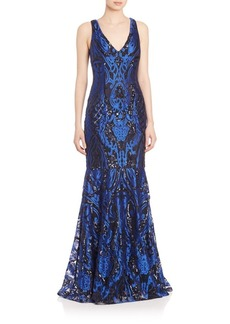 David Meister Three Dimensional Embroidered Gown