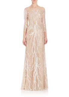 Embroidered Sequin Gown