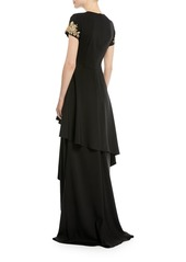 David Meister Tiered Skirted Gown w/ Beaded Sleeves