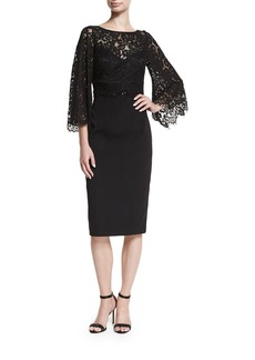 David Meister Trumpet-Sleeve Lace Cocktail Dress w/ Crepe Skirt
