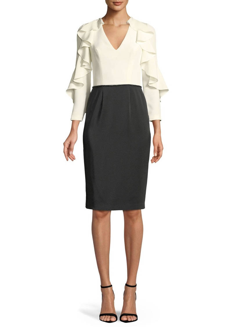 David Meister Tuxedo Ruffle-Sleeve Cocktail Dress