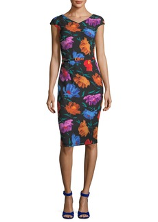 David Meister V-Neck Cap-Sleeve Floral-Print Sheath Dress