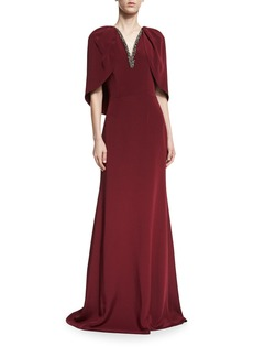 David Meister V-Neck Capelet Column Evening Gown w/ Embellishments
