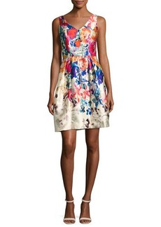 David Meister V-Neck Floral Border-Print Cocktail Dress