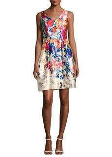 David Meister V-Neck Floral Border-Print Cocktail Dress