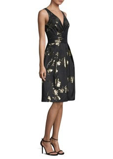 David Meister V-Neck Jacquard Dress