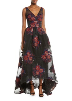 David Meister V-Neck Sleeveless Floral Ball Gown