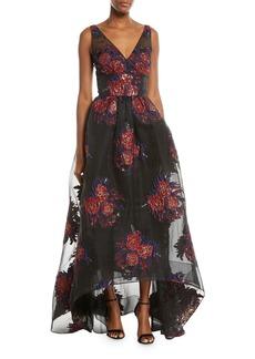 David Meister V-Neck Sleeveless Floral Ball Gown