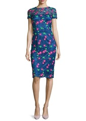 David Meister Venice Short-Sleeve Floral Lace Cocktail Dress