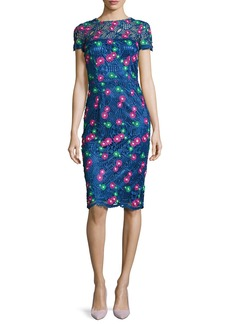 David Meister Venice Short-Sleeve Floral Lace Cocktail Dress  Blue/Multicolor
