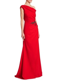 David Meister Vibrant One-Shoulder Gown