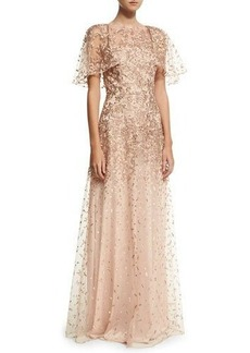 David Meister Wing-Sleeve Embroidered Lace Gown