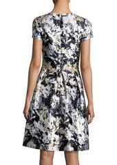 David Meister Embellished Metallic Floral-Print Cocktail Dress