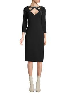 Theia Embellished-Neck Sheath Dress